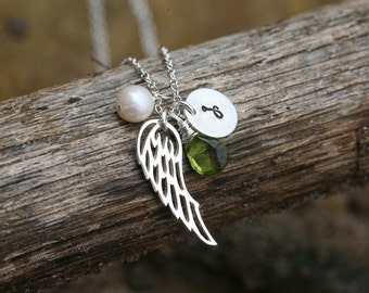 Personalized Angel wing Necklace,memorial wing necklace,initial necklace,custom font monogram,custom birthstone,bridesmaid gift,Flower girl