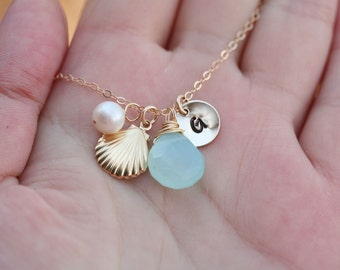 Bridesmaid gifts,Shell necklace,Monogram Personalized necklace,14k Gold,Bridal Jewelry,Initial necklace