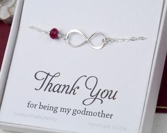 Godmother infinity bracelet,Godmother jewelry,baby shower gift for godmother,mother in law jewelry,infinity pearl bracelet,custom bitthstone