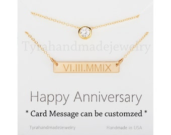 Double layer CZ Bar necklace,engraved date bar,Monogram initial bar,tiny dot necklace,name bar,coordinate bar,custom font,custom note card