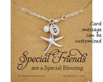 Set of 4,Beach weddin gifts,starfish initial bracelet,custom font monogram,custom birthstone,personalized bridal jewelry,custom message card