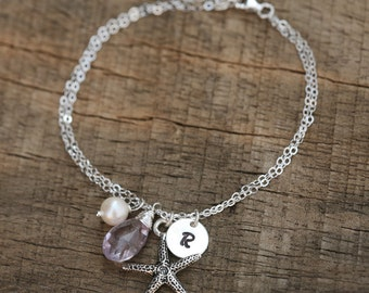 Personalized infinity bracelet,Starfish bracelet,hand stamped initial charm,Infinity starfish bracelet,Monogram bracelet