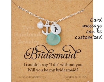 Anchor initial necklace,bridesmaid gift,hand stamped monogram,custom font,custom birthstone,Strength hope anchor,Personalized,Bridal Jewelry