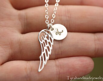 Personalized silver angel wing necklace,initial angel wing necklace,hand stamped jewelry,best friend gift,graduation gift,Bridesmaid gift