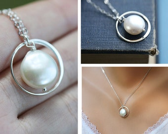 Circle necklace,Coin pearl necklace,sterling silver,bridesmaid gifts,wedding jewelry gift,simply daily jewelry,best friend,graduation gift