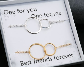 Two bracelet set,Double eternity bracelet,Best friends Bracelet,Karma Bracelet,Halo Bracelet,sister,Bridesmaid Gifts