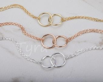 Set of 4,Bridesmaid Double Circle Bracelet,Eternity Love Bracelet,Sterling Silver Karma ring,Bridesmaid Gift,Sisterhood gift,Wedding Jewelry