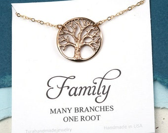 Mother of the Groom gift,Gift for mother in law from bride,family tree necklace,tree of life necklace,personalized note card,siserhood gift