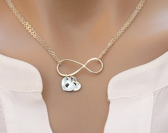 Personalized LARGE Infinity Necklace,hand stamped initial necklace,cutom font,silver or gold,Mother necklace,Heart,mother in law gift
