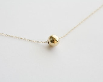 LargeDainty Gold Ball 14k Gold Filled Necklace,Everyday Jewelry,Bridesmaid gifts,Wedding jewelry,Simplistic,Ball necklace