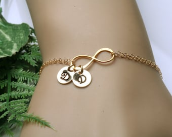 Gold Infinity initial bracelet,Two initial letter charm,Couple,infinity bracelet,hand stamped,sisterhood,customize font,bridesmaid gift,