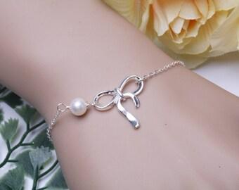 Sterling silver bow bracelet, silver knot bracelet, tie the knot, bridal weddig Jewelry,Custom birthstone,graduation gift