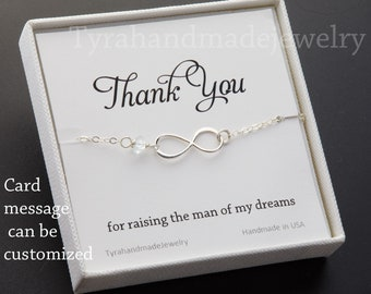 Mother infinity love bracelet,Grandma,Mother jewelry,Mother of groom,Custom birthstone,Thank you card,greeting