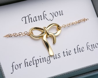 Gold bow bracelet,Gold knot bracelet, Thank you for helping us tie a knot,bridesmaid gifts,friendship bracelet