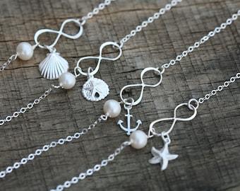Set of 4,Ocean charm Infinity Bracelet,Beach wedding gift,custom stone,Anchor,sea shell,starfish,sand dollar,best friend,Bridesmaid gift