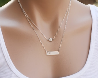 Personalized double layer tiny dot Bar necklace,Monogram bar necklace,tiny dot bar necklace,monogram bar necklace,Initial Rectangle necklace