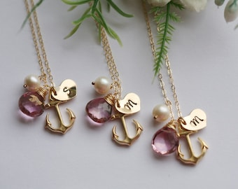 Set of 3,Bridesmaid anchor necklace,personalized anchor necklace,Monogram heart Necklace,Pearl,Sailors anchor,Wedding Jewelry,Hope,Strength