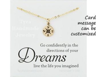 Compass necklace,personalized congratualation card,Graduation Gifts,compass charm,sisterhood,BFF,sisters gift,class of 2017,custom note card