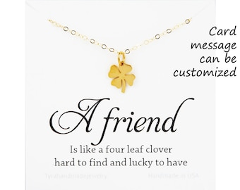 Four leaf clover necklace,shamrock necklace,Gold lucky charm,Best friend gift,graduation gift,sisterhood,birthday gift,csutom message card