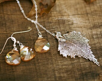 Birch Leaf Set,Silver birch Leaf Swarovski Gold champagne sterling silver necklace and earrings,Bridesmaid gifts,Fall Autumn Wedding
