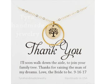 Mother of the Groom gift,Gift for mother in law from bride,karma circle necklace,family tree necklace,custom message card,gift to MILs