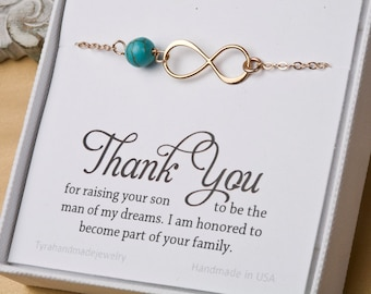 Mother in law infinity bracelet,Thank you for raising the man of my dreams,gift for mother of groom,Infinity bracelet,mother's day gift
