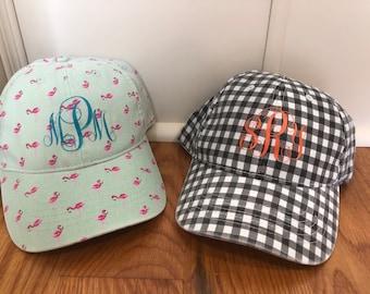 women s ball cap- ball cap- gingham ball cap- flamingo ball cap- women s hat-  women s cap- monogrammed cap- personalized cap 74c3f547dbd