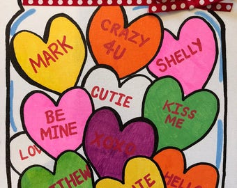 Valentine's Day- custom- Hearts- Love- gift- holiday-family- personalized- Valentine's Gift- hand painted