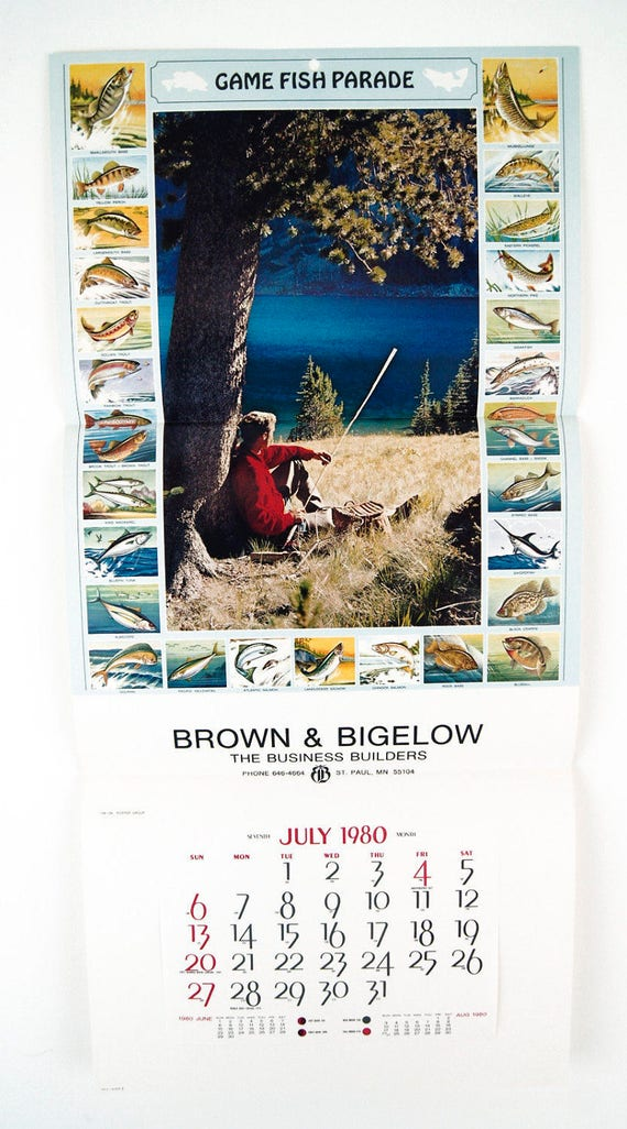 vintage 1980 game fish parade pictorial calendar print 27 fish etsy