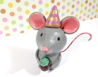 Birthday Mouse Figurine - OOAK