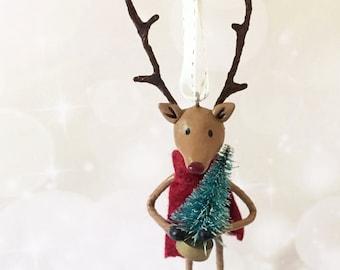 Joyful Reindeer Ornament - OOAK