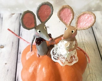 Pumpkin Mice Wedding Cake Topper - OOAK
