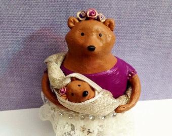 Mama & Baby Bear Wall Art Figurine - OOAK