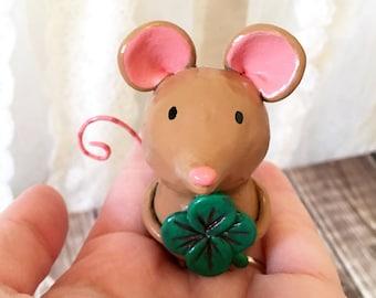 Shamrock Mouse Figurine - OOAK