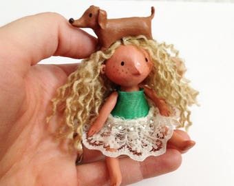 Doxie Girl Art Doll - With Jointed Arms & Legs - OOAK