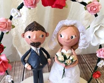 Love in Bloom - Cake Topper for Wedding - OOAK