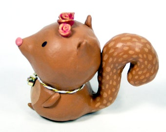 Springtime Squirrel Figurine - OOAK