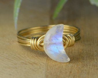 Crescent Moon Rainbow Moonstone Ring-Sterling Silver, 14k Yellow or Rose Gold Filled Wire Wrapped- Size 4 5 6 7 8 9 10 11 12 13 14