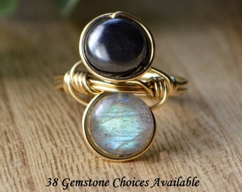 Any Two Gemstones Vertical Infinity Ring- Silver, 14k Yellow or Rose Gold Filled Wire Wrapped Personalized -Size 4 5 6 7 8 9 10 11 12 13 14