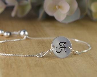 Any Script Letter Sterling Silver Disc Adjustable Sterling Silver Interchangeable Charm/Link Bolo Bracelet- Charm, Bracelet Chain, or Both