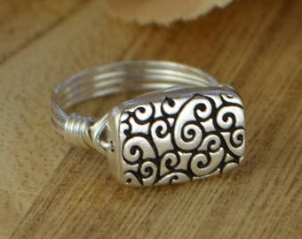 Wire Wrapped Ring- Sterling Silver, Yellow or Rose Gold Filled Wire with Rectangle Swirl Bead - Any Size 4 5 6 7 8 9 10 11 12 13 14