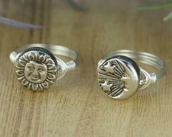 Choose Sun OR Moon Wrapped Ring- Sterling Silver, Yellow or Rose Gold Filled Wire with Silver Tone Bead -Any Size 4 5 6 7 8 9 10 11 12 13 14
