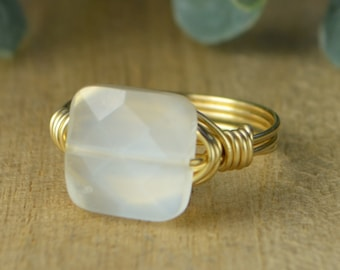 Yellow or Rose Gold Filled Wire-Any Size 4 5 6 7 8 9 10 11 12 13 14 White Grey Howlite Faceted Square Gemstone Wrapped Ring-Sterling Silver