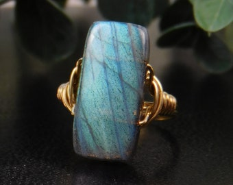 Labradorite Statement Ring-Sterling Silver, 14k Yellow or Rose Gold Filled Wire Wrapped Ring - Any Size 4 5 6 7 8 9 10 11 12 13 14