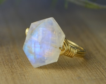 Hexagon Faceted Rainbow Moonstone Gemstone Ring-Sterling Silver, 14k Yellow or Rose Gold Filled Wire Wrapped-Size 4 5 6 7 8 9 10 11 12 13 14