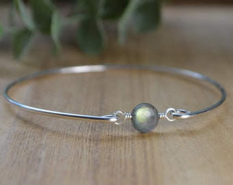Round Labradorite Bangle Bracelet-  Initial and/or Zodiac Personalized Sterling Silver Filled Wire Wrap Bracelet- Custom Made to Size