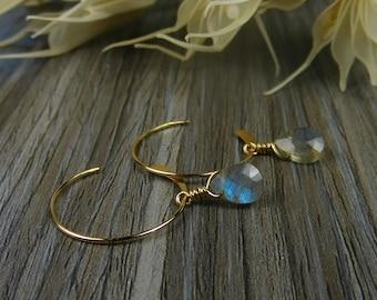 Interchangeable Tiny Labradorite Teardrop Minimalist Dangle Earrings- Sterling Silver or Gold Filled
