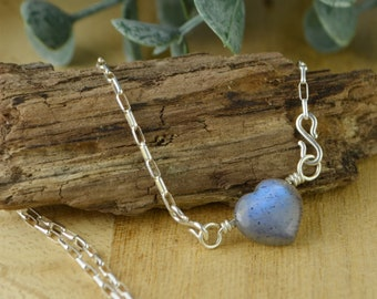 Hear Shaped Labradorite Adjustable Sterling Silver Interchangeable Charm/Link Necklace- Charm, Necklace Chain, or Both