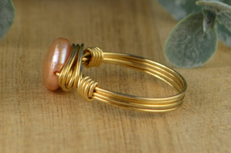 Small Salmon Pink Pearl Wrapped Ring Size 4,5,6,7,8,9,10,11,12,13,14 Sterling Silver Yellow or Rose Gold Filled Wire Wire with Coin Pearl