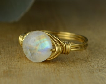 Coin Shaped Rainbow Moonstone Ring-Sterling Silver, Yellow or Rose Gold Filled Wire Wrapped Gemstone Bead- Size 4 5 6 7 8 9 10 11 12 13 14